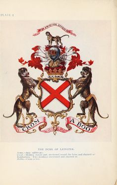 Design - Graphic - Engraving - Heraldry - Duke of Linster      Heraldry illustrated, color. From: Peeps at Heraldry 1912, Phoebe Allen.