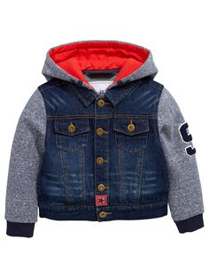 Mini V by Very Boys Hooded Denim Jacket with Jersey Sleeves A cool hybrid, this little boys cover-up from Mini V by Very Baby Outfits, Kids Outfits, Custom Leather Jackets, Stylish Boys, Kids Coats, Kids Fashion Boy, Girls Jeans, Kind Mode, Kids Wear