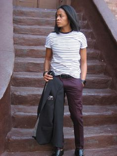 """""""I wanted to let the pants do all of the work. I love how well black works with colors, so I went with a black blazer and double monk strap shoes. The pocket square was the final touch, connecting everything together."""" Danielle """"Coop"""" Cooper LOOOOVE THIS Androgynous Fashion Tomboy, Butch Fashion, Androgynous Girls, Queer Fashion, Lesbian Outfits, Tomboy Outfits, Dressy Outfits, Cool Outfits, Fashion Outfits"""