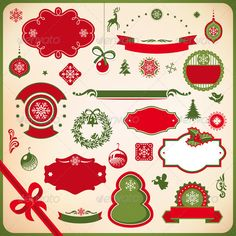 Collection of Christmas and New Year decoration — Vector EPS #frame #background • Available here → https://graphicriver.net/item/collection-of-christmas-and-new-year-decoration/3381401?ref=pxcr