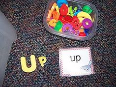 Literacy Work Station Ideas! This would be great for teaching preschoolers how to spell their name.