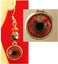 Silver Red Eye Halloween Charm Earrings