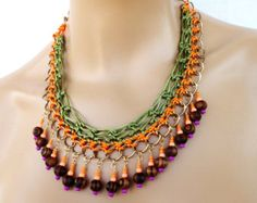 Crochet Chain Necklace, Tribal Necklace in Orange and Olive, Color Block Statement Necklace with Wood and Glass Beads, Party Bling