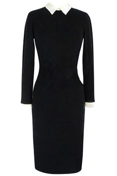 Black Long Sleeves Pencil Dress OASAP.com