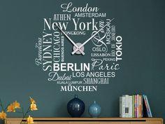 Internationales Design:  Die Wandtattoo Uhr  holt Weltstädte aufs Ziffernblatt. Einfach wie ein Wandtattoo anbringen, dann das Uhrwerk  ergänzen. Die ausgefallene Wanduhr gibt es in zwei Größen und vielen Farben. Mehr dazu auf WANDTATTOO.DE