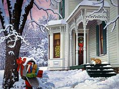 Christmas RFD by John Sloane. Jenn a mirror image of your house :-) Christmas Mail, Christmas Scenes, Country Christmas, Christmas Pictures, Winter Christmas, Christmas Rugs, Snoopy Christmas, Christmas Morning, Winter Snow