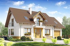 Charming house plan with attic square meters Flat House Design, Bungalow Haus Design, House Front Design, Roof Design, Style At Home, Architectural Floor Plans, Charming House, Cottage Plan, Facade House