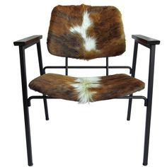 Metal Arm Chair, Hair on Hide seat & back from TREBOR/NEVETS for $965.00