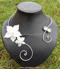 Collier de mariée fleurs de soie ivoire mariage