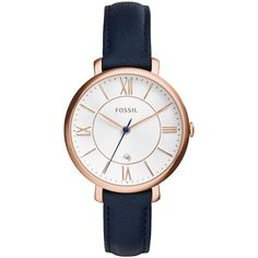 Amazon.com: Fossil ES3843 Jacqueline Rose Gold-Tone Watch with Navy... ❤ liked on Polyvore featuring jewelry, watches, navy watches, wide leather band watches, leather wrist band watch, gold-tone watches and gold colored jewelry