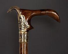 """Handmade Spazierstock /""""LION/"""" /'Walking Cane Stick Designer Messing Griff 36/' /'"""
