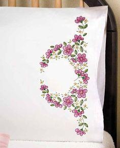 Tobin Stamped #crossstitch  FLORAL WREATH #pillowcases #DIY #crafts