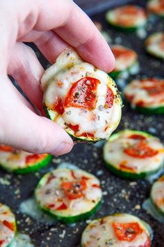 Zucchini Pizza Bites! I'll use goat cheese or a DF cheese on mine - yum!
