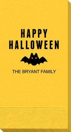 Personalized Happy Halloween Bat Guest Towels