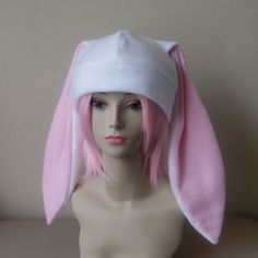 1bb5f2c7010 Fleece Rabbit Hat   WHITE + PASTEL PINK Beanie Style with Long Bunny Ears  Cute Anime Cosplay Rabbit Ears Usagi Ears Kawaii Japanese Fashion