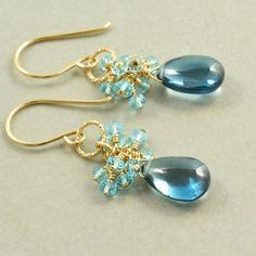 Blue Topaz Earrings Gold Gemstone Earrings December by NansGlam, $52.00