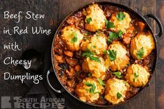 A hearty beef and red wine stew is hard to beat, particularly when it's topped with cheesy, fluffy dumplings. Beef Casserole Recipes, Casserole Dishes, Beef Recipes, Cooking Recipes, Pan Cooking, Savoury Recipes, Sweets Recipes, Cooking Ideas, Yummy Recipes