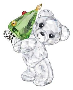 Limited Edition Christmas Kris Bear Carrying Green Christmas Tree by Swarovski Crystal Collection. Swarovski Ornaments, Swarovski Crystal Figurines, Swarovski Crystals, Cut Glass, Glass Art, Glass Figurines, Glass Animals, Crystal Collection, Crystal Jewelry
