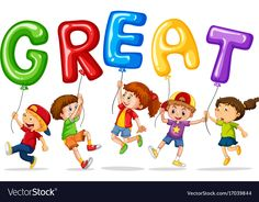 Children holding balloons with word great vector image on VectorStock