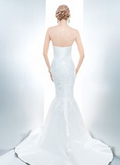 POPPY TRUMPET - Wedding Gown / 2013 Collection - by Matthew Christopher - Available colours : White & Off White (back)