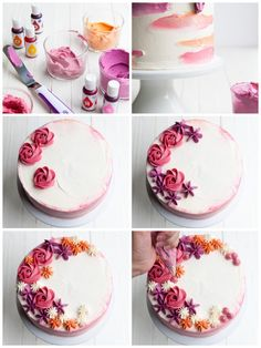 ▷ 1001 + Ideen und Anleitungen, wie Sie Torten verzieren decorating cake, coloring butter cream with food coloring, making flowers, sachet ▷ ideas and instructions▷ 1001 + ideas and instructions▷ ideas and instructions Food Cakes, Cupcake Cakes, Cake Fondant, Wilton Cakes, Cake Decorating Techniques, Cake Decorating Tips, Bolos Naked Cake, Cake Recipes, Dessert Recipes