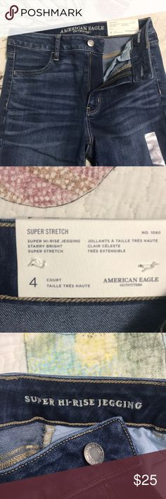 American Eagle Super High Rise Jeggings never worn  wash : starry bright  super stretch size 4 short ^^means the legs of the pants aren't as long as normal for shorter girls no more having to roll up your jeans American Eagle Outfitters Pants Skinny