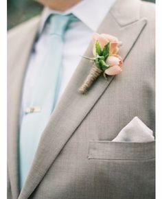 Light blue tie, light peach boutonnière #TiffanyBlueWeddings
