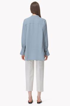 Slit neck silk pullover shirt