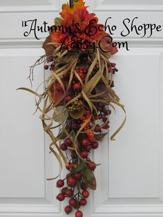 FALL DOOR DECOR...Fall Door Swag...Fall Floral Vertical Door Swag...Seasonal Door Decor..Harvest Home Wreath Alternative..Thanksgiving Decor by AutumnsEchoShoppe on Etsy