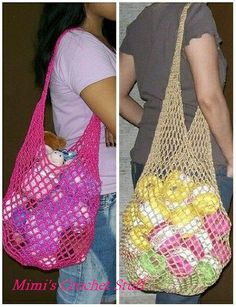 Ravelry: Stylish Crochet Mesh Bags pattern by Mimi Alelis Filet Crochet, Knit Crochet, Ravelry, Crochet Market Bag, Net Bag, String Bag, Crochet Purses, Crochet Bags, Filets