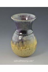 "Handmade Vase 5"" Purple Blue Glazed over Sandy Beige"