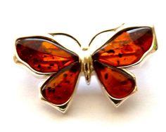 Baltic Amber Butterfly Pin Brooch Cognac 925 Silver