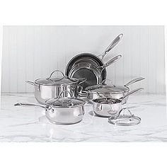 Sandra by Sandra Lee -10pc Stainless Steel Cookware Set