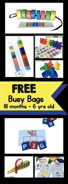 Tons of FREE printable busy bags and ideas to keep your toddler - preschool or kindergarten kiddo BUSY and engaged for hours. Perfect for home, the classroom or traveling!