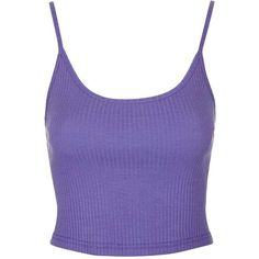 TopShop Cropped Ribbed Cami ($7.85) ❤ liked on Polyvore featuring tops, crop top, jersey crop top, purple top, cotton camisole, cotton camisole tops and cotton cami