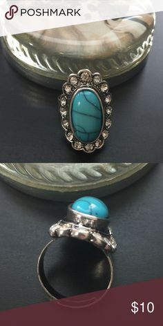 3/$20 -Faux Turquoise & Rhinestone Adjustable Ring So pretty. Fits Sz 7 but expands.       #JEWELRY #POSHMARK #BLING #RODEO #FASHIONISTA #COWGIRL #SOUTHWEST #ARIAT #AZTEC #WESTERN #CHIC #FAITH #RUNWAY #CROSS #TRIBAL #BOHO #KENDRA #NAVAJO #STELLA  #SOUTHERN #SPARKLE #CHIC 💖💍 Jewelry Rings