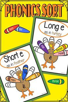 Kindergarten Phonics, Teaching Phonics, Kindergarten Centers, Phonics Activities, Reading Words, Guided Reading, Phonics Centers, Common Core Ela, Thanksgiving Activities