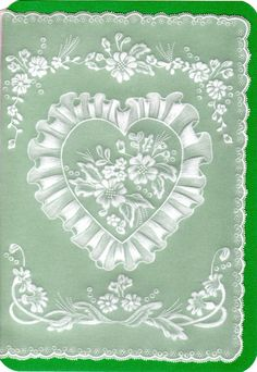 Lacey Heart   Border Vellum Crafts, Brush Embroidery, Ribbon Embroidery, Parchment Design, Card Making Designs, Parchment Cards, Lace Painting, Wedding Cards Handmade, Hand Made Greeting Cards