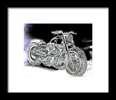 Custom Harley Davidson Abstract Graphite Pencil Sketched Art from the art studio of Scott D Van Osdol available at fineartsamerica.com