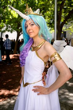 ✔ My Little Pony Princess Celestia costume. Aunt A...this is your department. She doesn't care what it looks like, I just pinned this picture to have a picture. I know you'll do your magic!