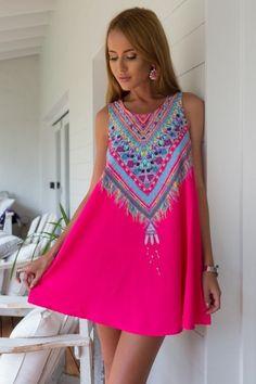 Lightweight Pink Shift Dress w/ Tribal Print Detail | USTrendy