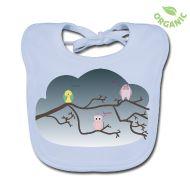 babero ecologico de bebé con buhos a la venta en http://trazosdecolores.spreadshirt.net/