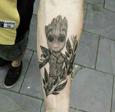 Instagram @inkmali | baby groot tattoo
