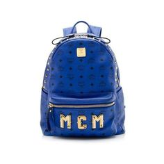 Pre-Owned MCM Visetos Stark Medium Logo Backpack ($625) ❤ liked on Polyvore featuring bags, backpacks, blue, pre owned bags, blue backpack, mcm backpack, knapsack bag and logo bags