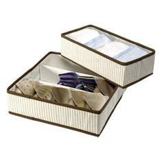 The Container Store > Eco-Stripe Drawer Organizers. Perfect for my baby's drawers..