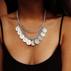 Tribal Silver Coin Necklace