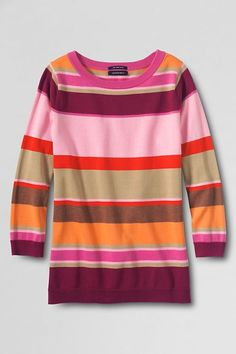 Women's striped 3/4-sleeve supima crewneck sweater - an essential wardrobe staple that looks great on any shape so it's one of the easiest to wear