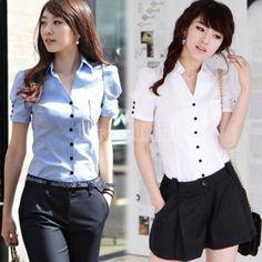 New Casual OL Style Women's Girl Short Sleeve Shirt White/Blue