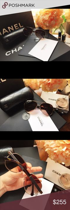 Authentic Chanel 4195q, quilting pilot sunglasses These are brand new, in great condition. It comes with the original Chanel case only. The sunglasses are a timeless classic and look absolutely stunning. It goes well with most face shapes 💕The leather/temples is in absolute pristine condition. These sunglasses have a hairline scratch on the left lense. The scratch is not big & isn't noticeable unless, you look super close and doesn't affect the vision. Overall, the item is in great shape…