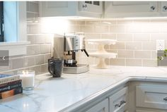 Pinned For Backsplash.I Decided On This Warm Gray Colored Subway Tile With  White Grout Throughout The Space. We Took It All The Way Up To The Ceiling  To ...